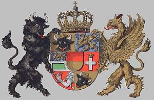 Seven-section coat of arms of Mecklenburg.