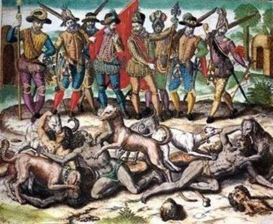 Amerindians Encountering the Conquistadors