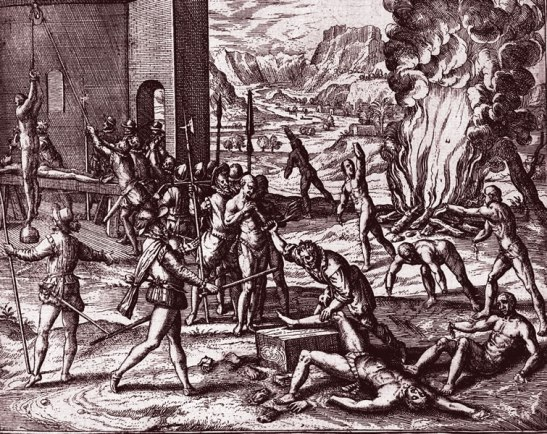 Spanish torture of American Indians-engaving by Theodor de Bry, 16th Century-Library of Congress, Kraus Collection of Sir Francis Drake