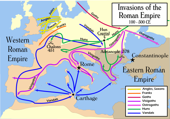 Barbarian-invasions-of-the-Roman-Empire-100-to-500