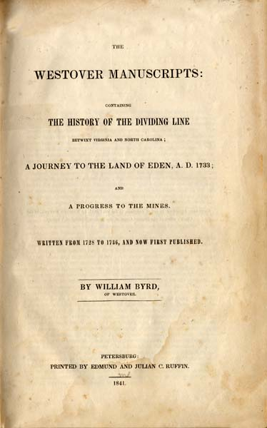 William Bryd-The History of the Dividing Line-cover page