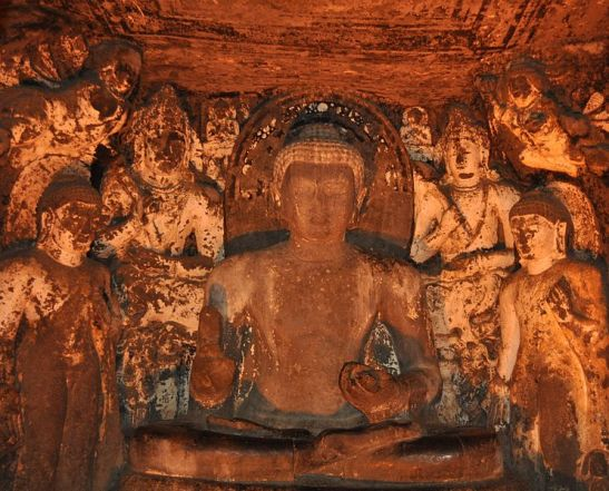 Lord buddha in preaching pose flanked by Bodhisattvas, Cave 4, Ajanta