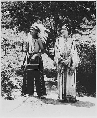 National Archives-1930-Cherokee Boy adn Girl in costum on reservation in North Carolina