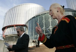 Norway's Gerd Fleischer awaits the Lebensborn hearings  at the European Court of Human Rights in Strasbourg