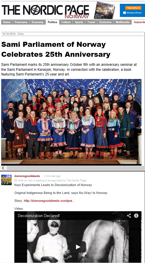 Sami Parliament of Norway Celebrates 25 Years-Nordic Page-10Oct14