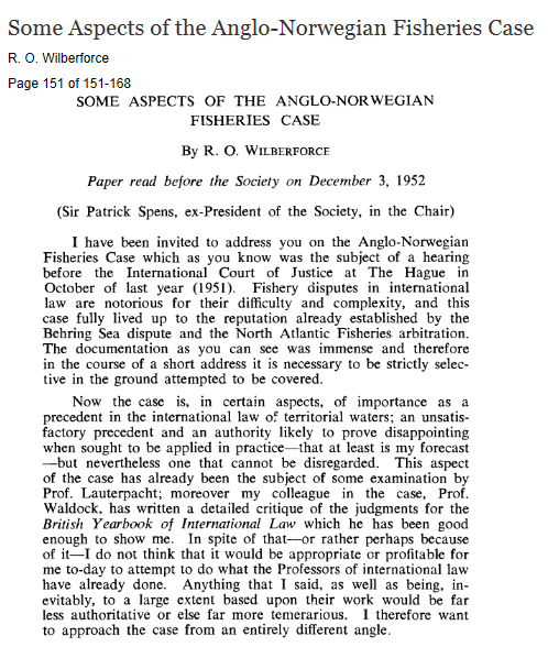 Anglo-Norwegian Fisheries Case-1951