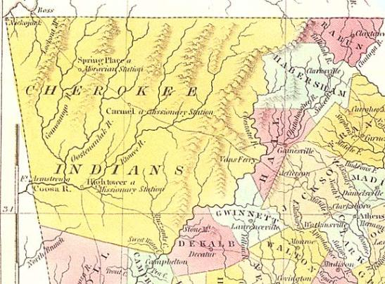 cherokeenation1830map